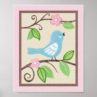 Liebe-Vogel-Kinderzimmer-Kunst-Plakat Poster