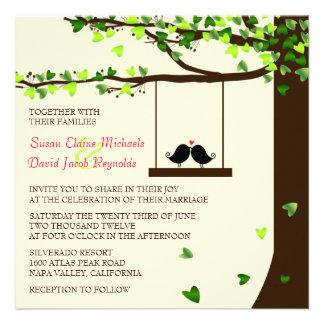 Liebe-Vogel-laden fallende Personalisierte Einladungen
