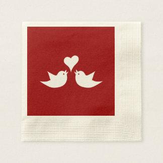 Liebe-Vögel mit Herzen Wedding Enagement Papierserviette