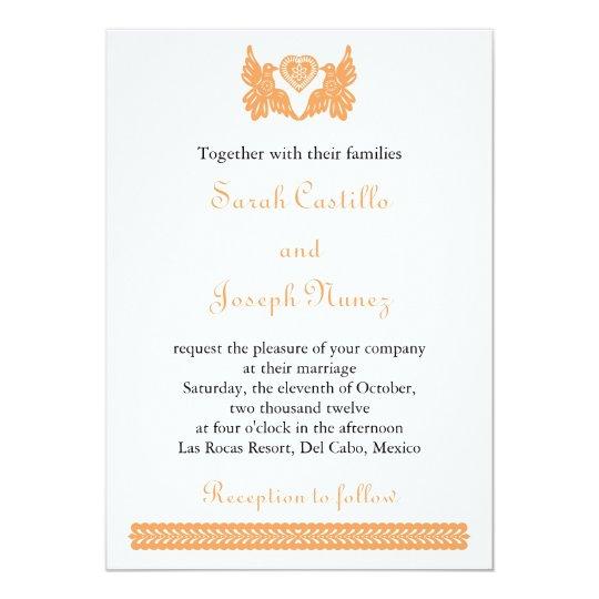 Liebe-Vögel Papel Picado Hochzeits-Einladung Karte