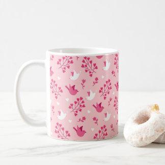 Liebe-Vogel-Rosa-Blumenmuster des Valentines Tages Kaffeetasse