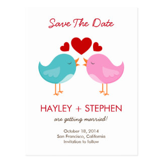 Liebe-Vogel-Save the Date Karte