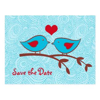 Liebe-Vogel-Save the Date Postkarte