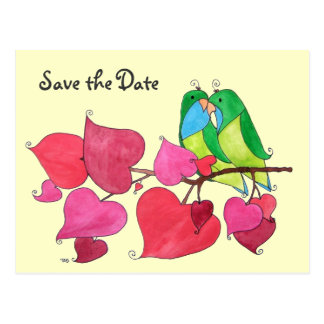 Liebe-Vögel, Save the Date Postkarte