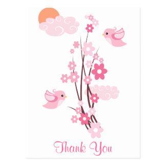 Liebe-Vögel u. empfindliche Blumen Postkarte