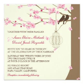Liebe-Vogel-Vintage Käfig-Kirschblüten-Hochzeit Quadratische 13,3 Cm Einladungskarte