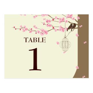 Liebe-Vogel-Vintage Käfig-Kirschblüten-Tabelle # Postkarte