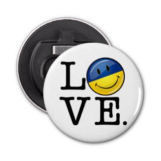 Liebe von der lächelnden Flagge Ukraine Runder Flaschenöffner
