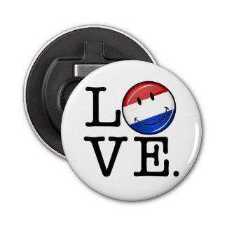 Liebe von der niederländischen lächelnden Flagge Runder Flaschenöffner
