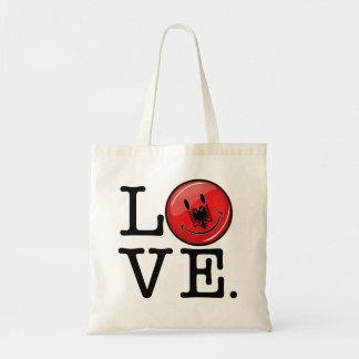 Liebe von lächelnder Flagge Albaniens Tragetasche