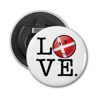 Liebe von lächelnder Flagge Dänemarks Flaschenöffner