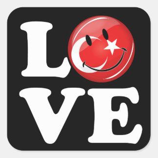 Liebe von lächelnder Flagge der Türkei Quadratischer Aufkleber