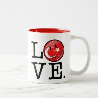 Liebe von lächelnder Flagge der Türkei Zweifarbige Tasse