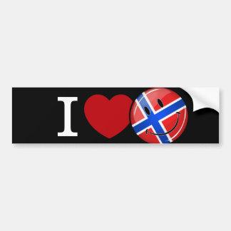 Liebe von lächelnder Flagge Norwegens Autoaufkleber