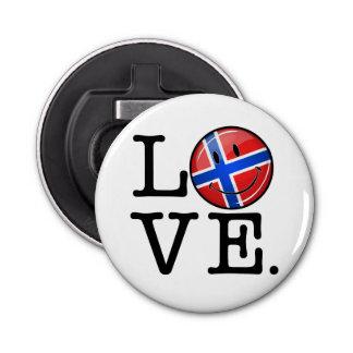 Liebe von lächelnder Flagge Norwegens Flaschenöffner