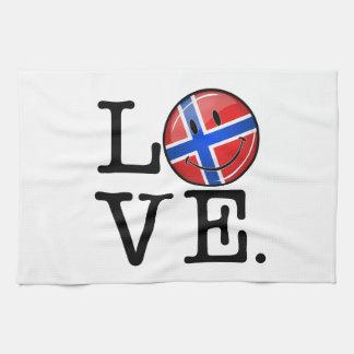 Liebe von lächelnder Flagge Norwegens Handtuch