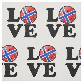 Liebe von lächelnder Flagge Norwegens Stoff