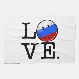 Liebe von lächelnder Flagge Russlands Geschirrtuch
