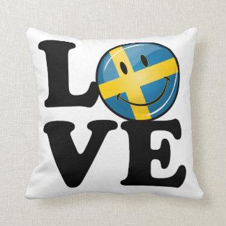 Liebe von lächelnder Flagge Schwedens Kissen