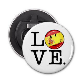 Liebe von lächelnder Flagge Spaniens Runder Flaschenöffner