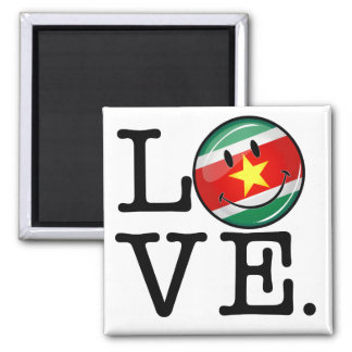 Liebe von lächelnder Flagge Surinams Quadratischer Magnet
