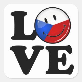 Liebe von Tschechische Republik-lächelnder Flagge Quadratischer Aufkleber