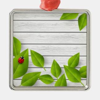 Liebe-Wanze Quadratisches Silberfarbenes Ornament
