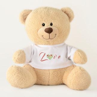 Liebe-Wasserfarbe-Blumenherzteddy-Bär Teddy