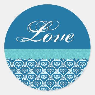 LIEBE Wedding Pfingstrosen-blaues Weiß und Aqua-Sp Stickers