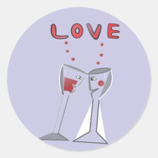 Liebe-Wein-Gläser Runder Aufkleber