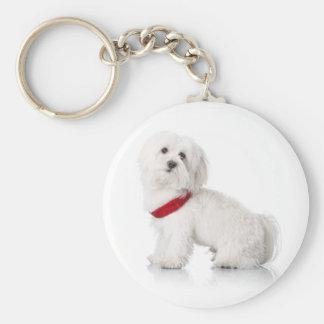 Liebe weißer Bichon Frise Welpen-Hund Keychain Standard Runder Schlüsselanhänger