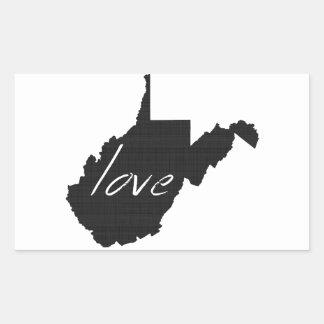 Liebe West Virginia Rechteckiger Aufkleber