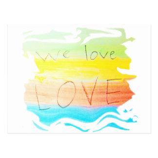 Liebe wir Liebe-Liebe-Regenbogenfarbe striped Postkarte