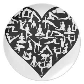 Liebe-Yoga-Pose-Silhouette-Herz Melaminteller