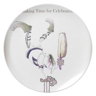 Liebe-Yorkshire-Grillen'Feier time Melaminteller
