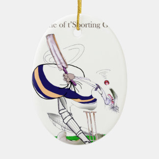 Liebe-Yorkshire-Kricket 'zur Schau tragender Ovales Keramik Ornament