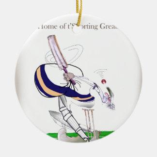 Liebe-Yorkshire-Kricket 'zur Schau tragender Rundes Keramik Ornament