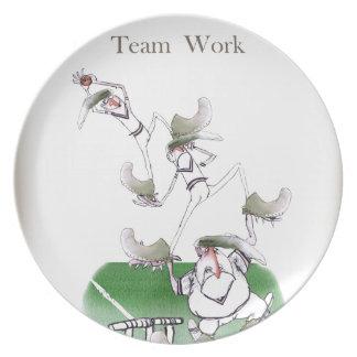 Liebe-Yorkshire-Kricket'Team work Melaminteller