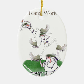 Liebe-Yorkshire-Kricket'Team work Ovales Keramik Ornament