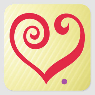 Liebe. Zeitraum! Rotes Herz der Liebe-Aussage Quadrataufkleber