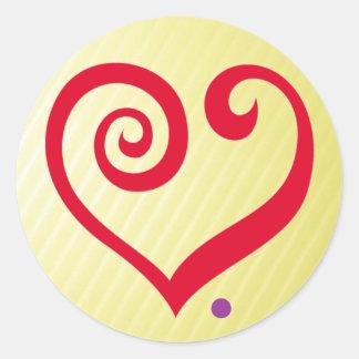 Liebe Zeitraum Rotes Herz der Liebe-Aussage Runder Sticker