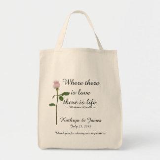Liebe zitiert rosa Rose w, Wedding willkommene Tragetasche