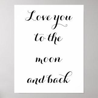 Liebe zum Mond und zur Rückseite Poster