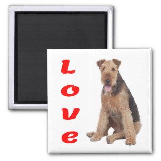 Liebeairedale-Welpen-Hund Magent Quadratischer Magnet