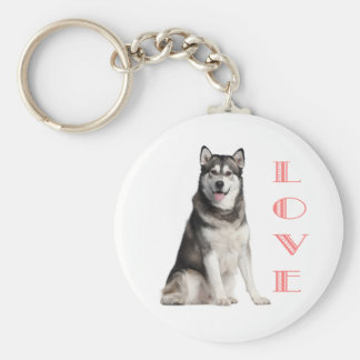 Liebealaskischer Malamute-Welpen-Hund Keychain Standard Runder Schlüsselanhänger