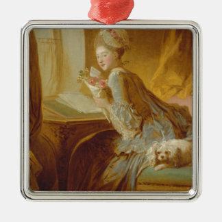 Liebebuchstabe Quadratisches Silberfarbenes Ornament