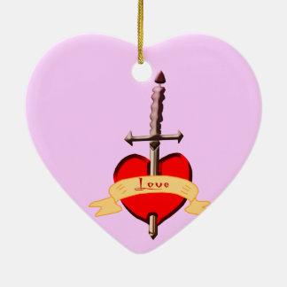 Liebedolch durchbohrte Herz Keramik Ornament
