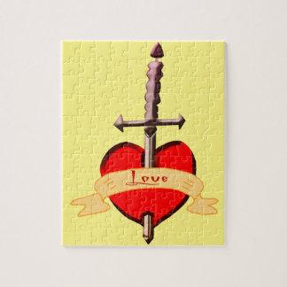 Liebedolch durchbohrte Herz Puzzle
