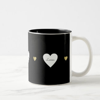 Liebeherzen, ein romantisches u. mit Monogramm Zweifarbige Tasse