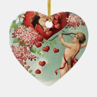 Liebeherzengels-Engel Vintager Valentine Keramik Ornament